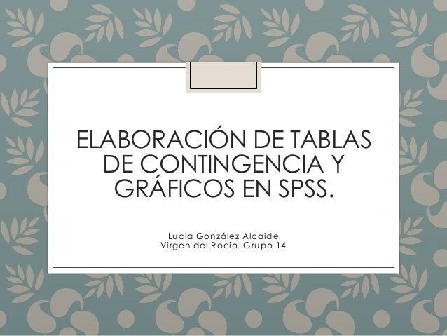 ELABORACIÓN DE TABLAS DE CONTINGENCIA Y GRÁFICOS EN SPSS. Lucia González Alcaide Virgen del Rocío. Grupo 14