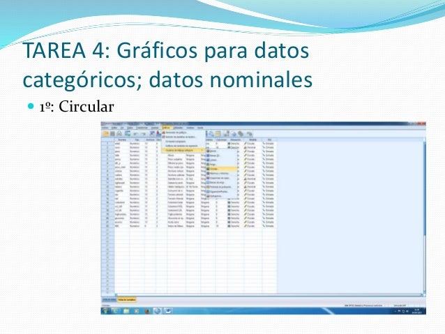 TAREA 4: Gráficos para datos categóricos; datos nominales  1º: Circular