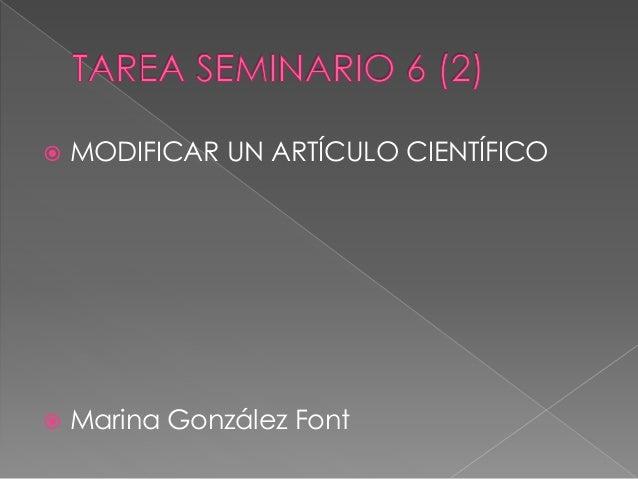  MODIFICAR UN ARTÍCULO CIENTÍFICO  Marina González Font