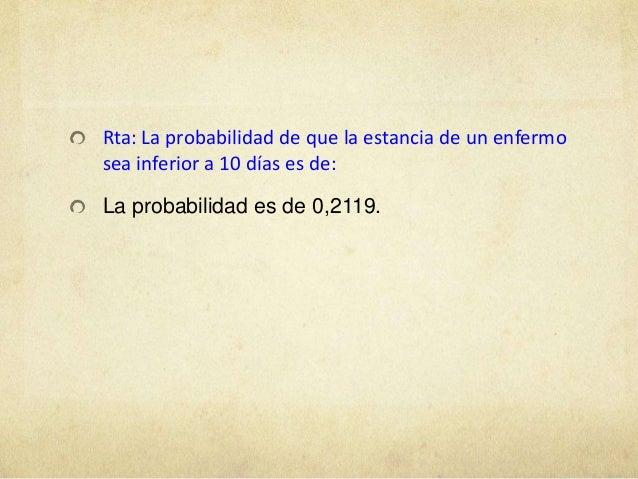 Rta: La probabilidad de que la estancia de un enfermosea inferior a 10 días es de:La probabilidad es de 0,2119.