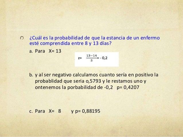 ¿Cuál es la probabilidad de que la estancia de un enfermoesté comprendida entre 8 y 13 días?a. Para X= 13b. y al ser negat...