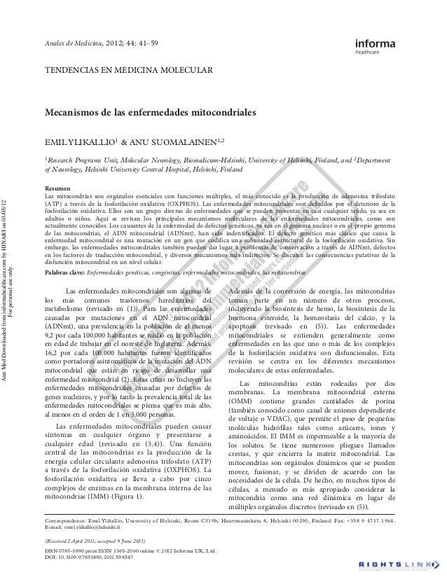 Mecanismos de las enfermedades mitocondriales EMIL YLIKALLIO1 & ANU SUOMALAINEN1,2 1Research Programs Unit, Molecular Neur...