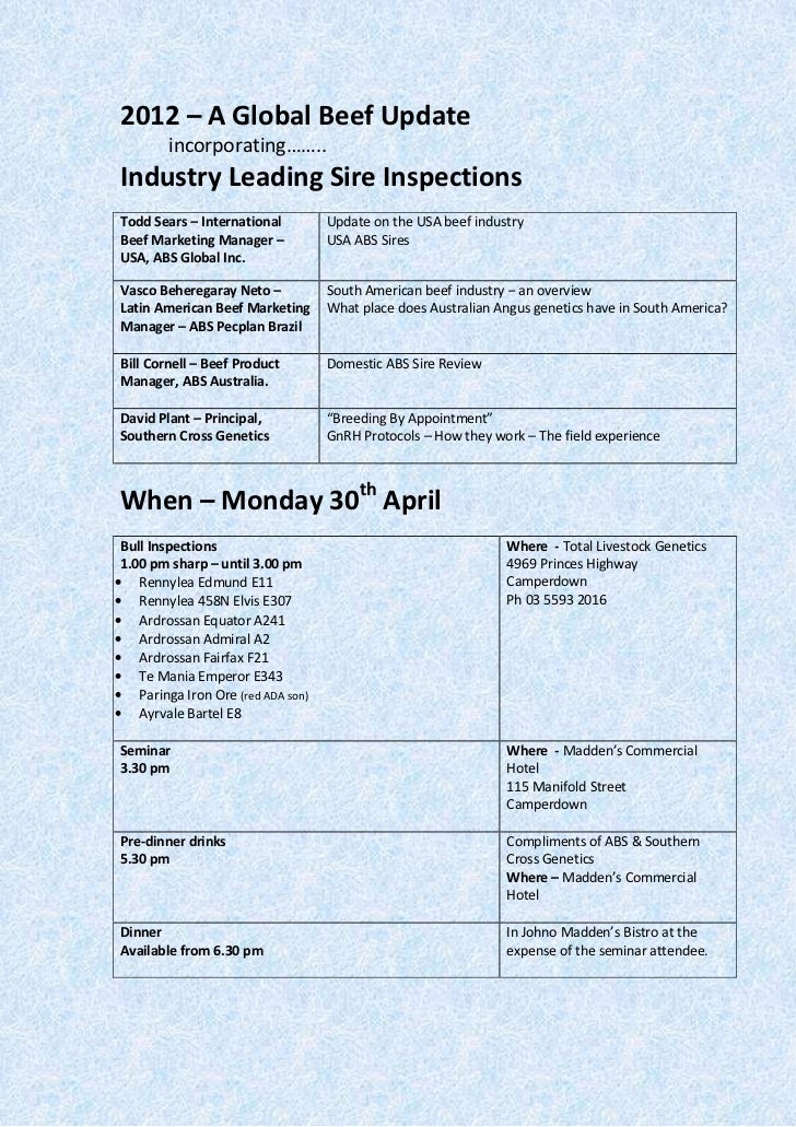 2012 – A Global Beef Update        incorporating……..Industry Leading Sire InspectionsTodd Sears – International         Up...