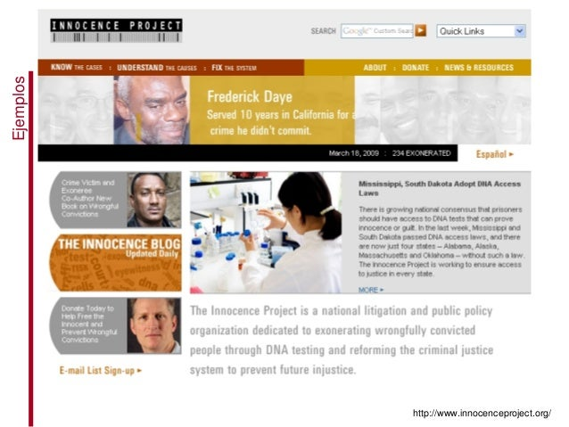 http://www.innocenceproject.org/ Ejemplos
