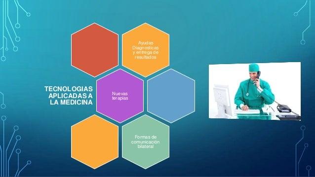 Ayudas Diagnosticas y entrega de resultados  TECNOLOGIAS APLICADAS A LA MEDICINA  Nuevas terapias  Formas de comunicación ...