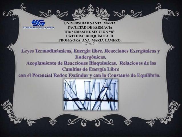 """UNIVERSIDAD SANTA MARIA FACULTAD DE FARMACIA 6To SEMESTRE SECCION """"B"""" CÁTEDRA: BIOQUÍMICA II. PROFESORA: ANA MARIA CAMERO."""