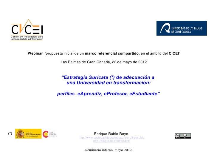 Webinar 'propuesta inicial de un marco referencial compartido, en el ámbito del CICEI'                        Las Palmas d...