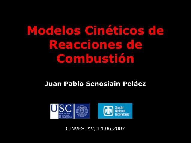 Modelos Cinéticos de Reacciones de Combustión Juan Pablo Senosiain Peláez CINVESTAV, 14.06.2007