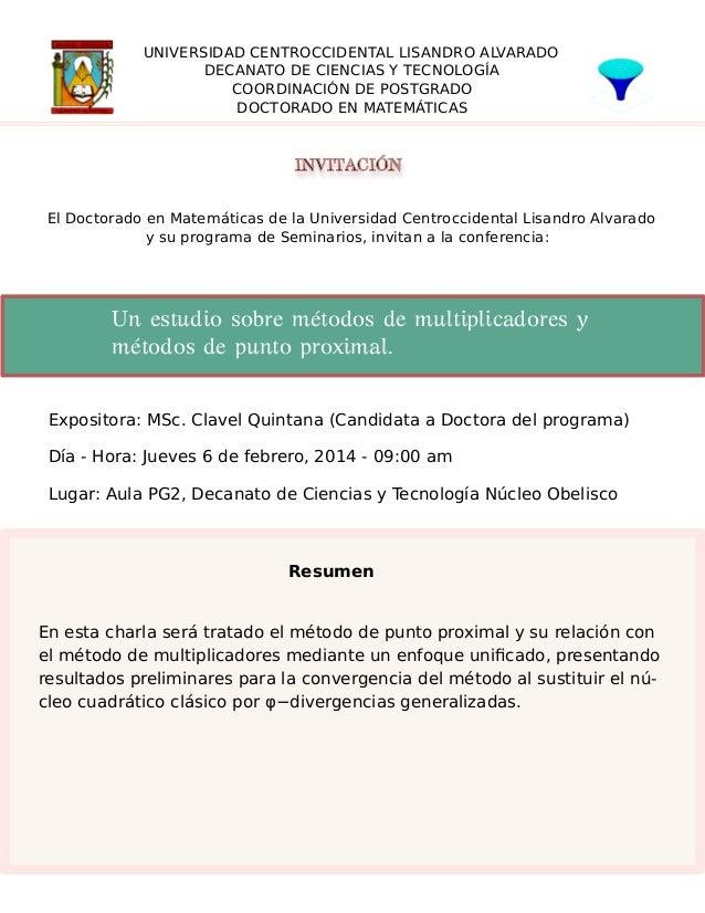 UNIVERSIDAD CENTROCCIDENTAL LISANDRO ALVARADO DECANATO DE CIENCIAS Y TECNOLOGÍA COORDINACIÓN DE POSTGRADO DOCTORADO EN MAT...