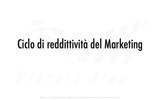 Ciclo di reddittività del Marketing Pagina 10   © Prima Posizione Srl – Vietata la copia e la distribuzione non autorizzat...