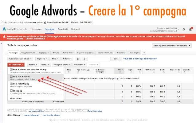 Google Adwords – Creare la 1° campagna Pagina 55   © Prima Posizione Srl – Vietata la copia e la distribuzione non autoriz...