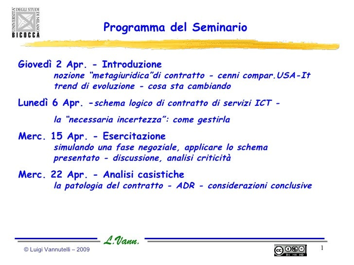 """© Luigi Vannutelli – 2009  Programma del Seminario Giovedì 2 Apr. - Introduzione nozione """"metagiuridica""""di contratto - cen..."""