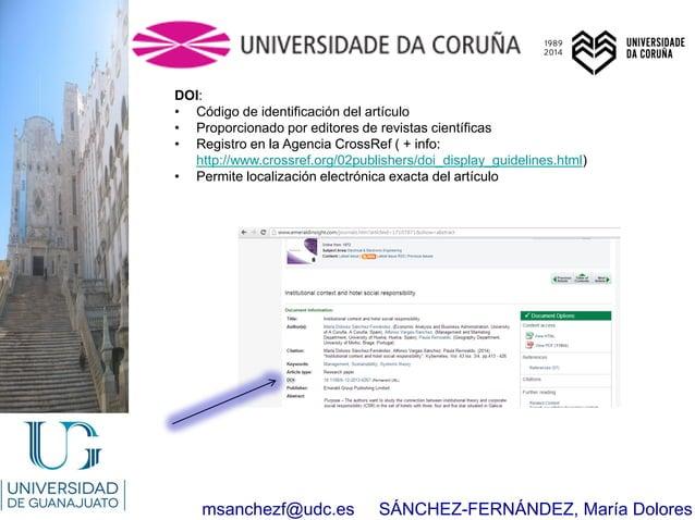 msanchezf@udc.es SÁNCHEZ-FERNÁNDEZ, María Dolores DOI: • Código de identificación del artículo • Proporcionado por editore...