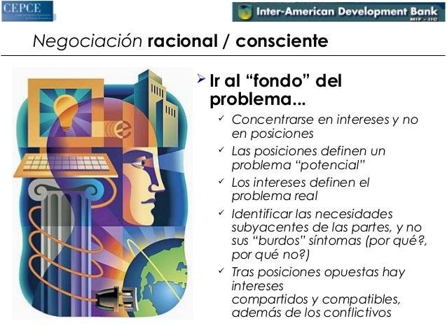 """Negociación racional / consciente   Ir al """"fondo"""" del  problema...   Concentrarse en intereses y no  en posiciones   La..."""