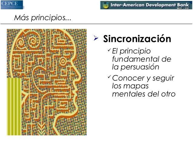 Más principios...   Sincronización  El principio  fundamental de  la persuasión  Conocer y seguir  los mapas  mentales ...