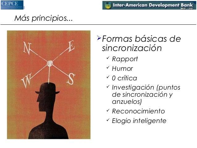 Más principios...  Formas básicas de  sincronización   Rapport   Humor   0 crítica   Investigación (puntos  de sincro...