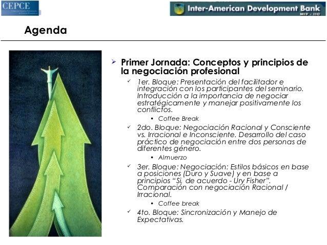 Agenda   Primer Jornada: Conceptos y principios de  la negociación profesional   1er. Bloque: Presentación del facilitad...