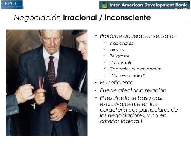 Negociación irracional / inconsciente   Produce acuerdos insensatos   Irracionales   Injustos   Peligrosos   No durab...