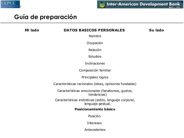 Guía de preparación  Mi lado DATOS BASICOS PERSONALES Su lado  Nombre  Ocupación  Relación  Estudios  Inclinaciones  Compo...