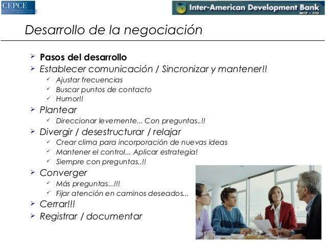 Desarrollo de la negociación   Pasos del desarrollo   Establecer comunicación / Sincronizar y mantener!!   Ajustar frec...