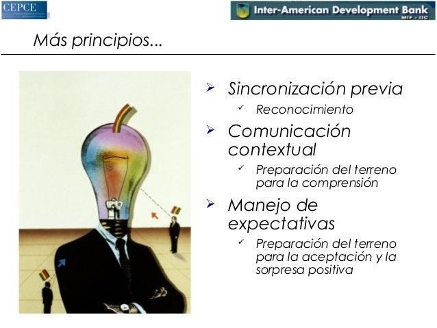 Más principios...   Sincronización previa   Reconocimiento   Comunicación  contextual   Preparación del terreno  para ...