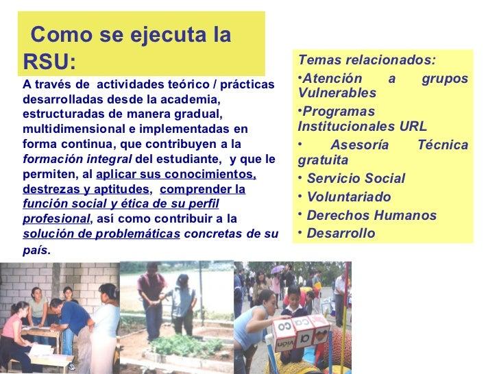 Como se ejecuta laRSU:                                          Temas relacionados:A través de actividades teórico / práct...