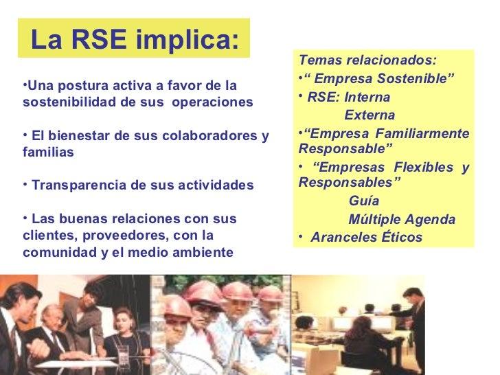 """La RSE implica:                                        Temas relacionados:                                        •"""" Empre..."""