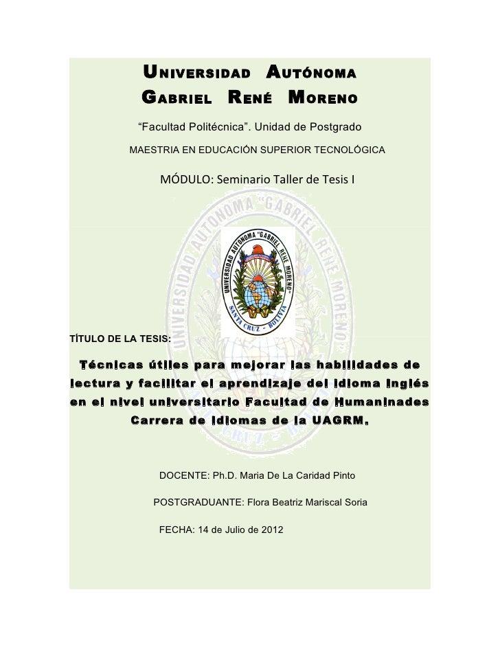 """U NIVERSIDAD A UTÓNOMA             G ABRIEL R ENÉ M ORENO            """"Facultad Politécnica"""". Unidad de Postgrado          ..."""