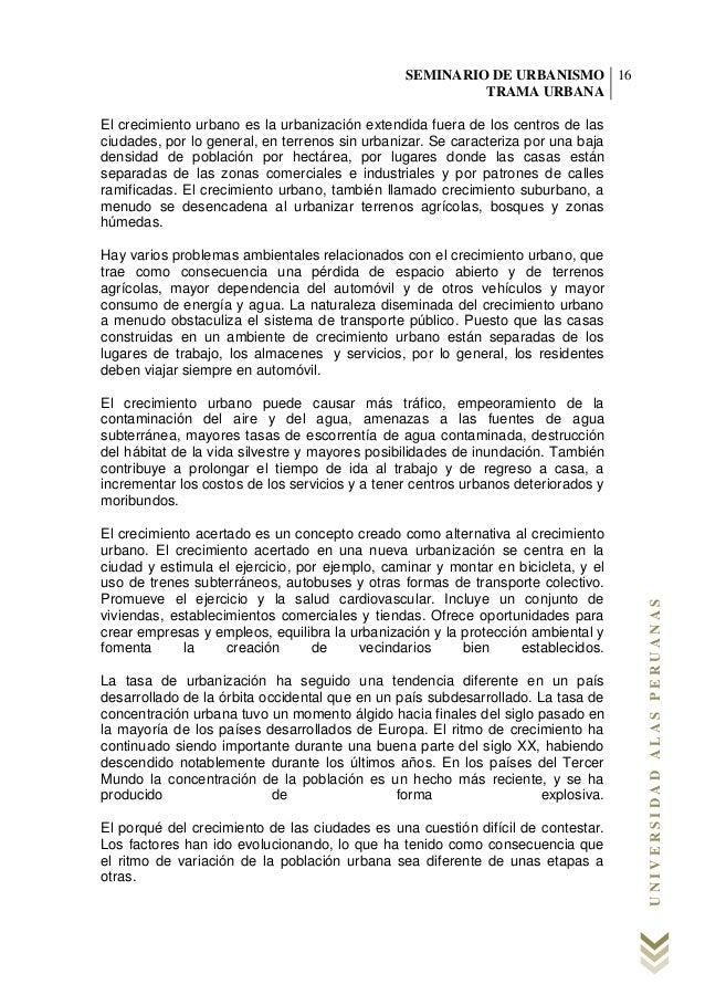 Seminario de urbanismo trama urbana - monografia final