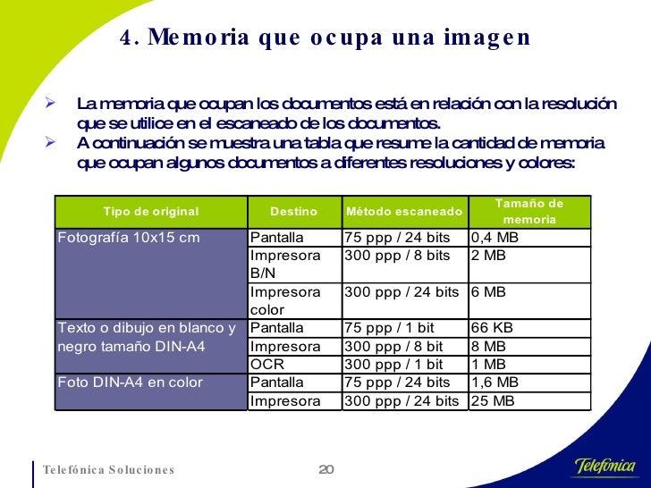 4. Memoria que ocupa una imagen <ul><li>La memoria que ocupan los documentos está en relación con la resolución que se uti...