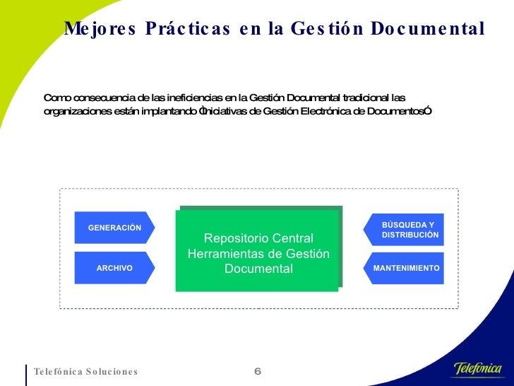 Mejores Prácticas en la Gestión Documental <ul><li>Como consecuencia de las ineficiencias en la Gestión Documental tradici...