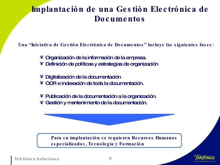 """Implantación de una Gestión Electrónica de Documentos <ul><li>Una """"Iniciativa de Gestión Electrónica de Documentos"""" incluy..."""