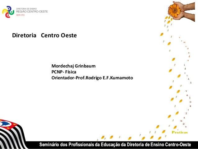 Diretoria Centro Oeste              Mordechaj Grinbaum              PCNP- Física              Orientador-Prof.Rodrigo E.F....