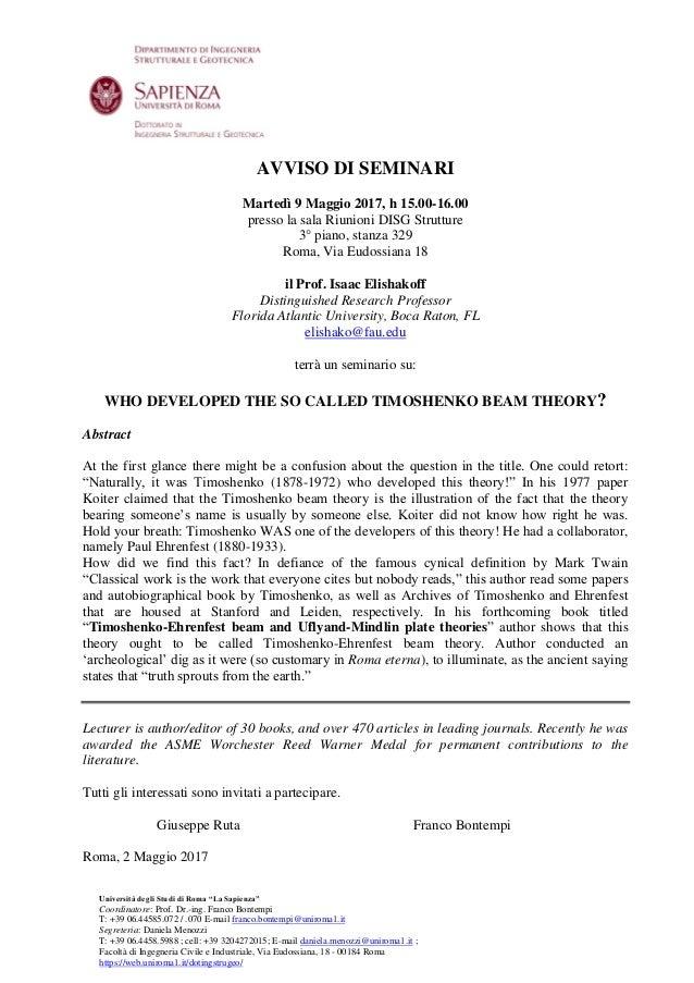 """Università degli Studi di Roma """"La Sapienza"""" Coordinatore: Prof. Dr.-ing. Franco Bontempi T: +39 06.44585.072 / .070 E-mai..."""