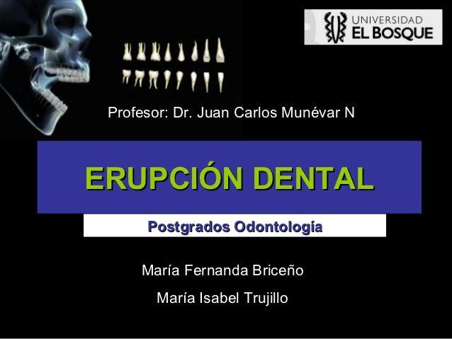 Profesor: Dr. Juan Carlos Munévar NERUPCIÓN DENTAL      Postgrados Odontología     María Fernanda Briceño       María Isab...