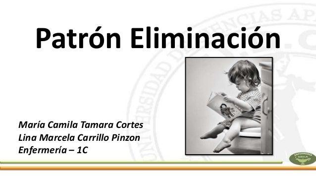 Patrón Eliminación María Camila Tamara Cortes Lina Marcela Carrillo Pinzon Enfermería – 1C