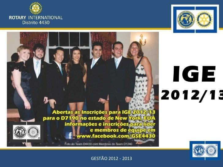 IGE                     2012/13GESTÃO 2012 - 2013
