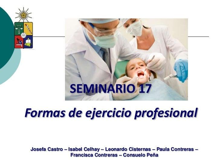 SEMINARIO 17Formas de ejercicio profesional Josefa Castro – Isabel Celhay – Leonardo Cisternas – Paula Contreras –        ...