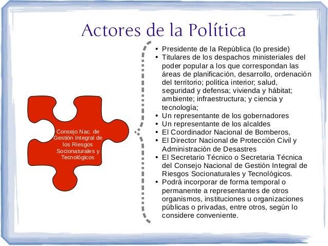 Actores de la Política                      ●   Presidente de la República (lo preside)                      ●   Titulares...