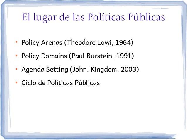 El lugar de las Políticas Públicas●    Policy Arenas (Theodore Lowi, 1964)●    Policy Domains (Paul Burstein, 1991)●    Ag...