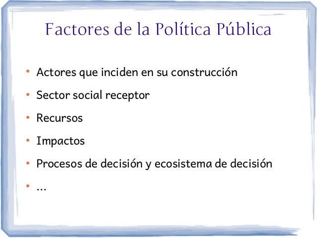 Factores de la Política Pública●    Actores que inciden en su construcción●    Sector social receptor●    Recursos●    Imp...