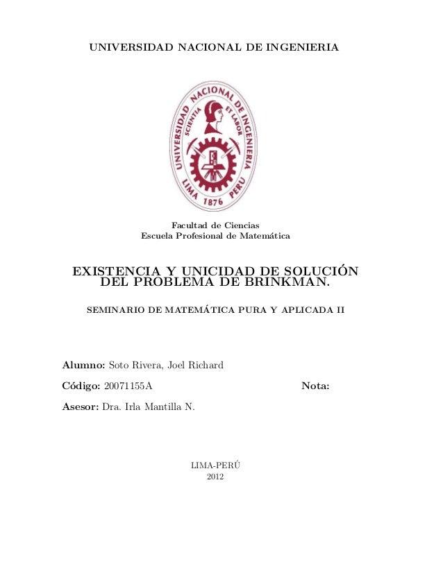 UNIVERSIDAD NACIONAL DE INGENIERIA                        Facultad de Ciencias                 Escuela Profesional de Mate...