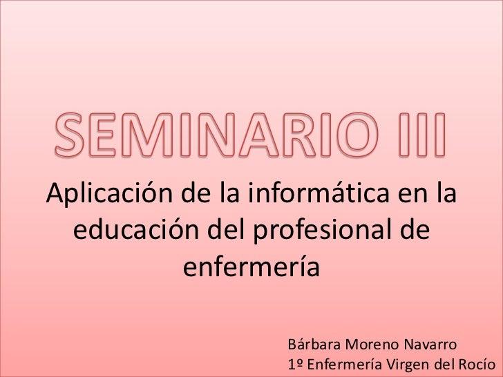 Aplicación de la informática en la  educación del profesional de           enfermería                   Bárbara Moreno Nav...