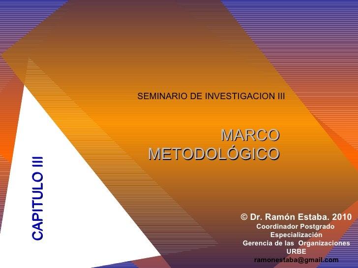 CAPITULO III SEMINARIO DE INVESTIGACION III ©  Dr. Ramón Estaba .  2010 Coordinador Postgrado  Especialización Gerencia de...