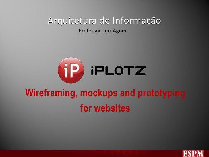 Arquitetura de Informação Wireframing, mockups and prototyping for websites Arquitetura de Informação Professor Luiz Agner