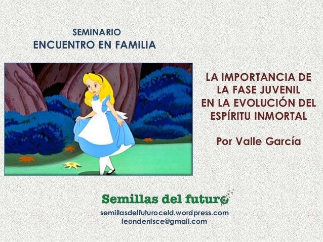 SEMINARIO ENCUENTRO EN FAMILIA semillasdelfuturoceld.wordpress.com leondenisce@gmail.com LA IMPORTANCIA DE LA FASE JUVENIL...