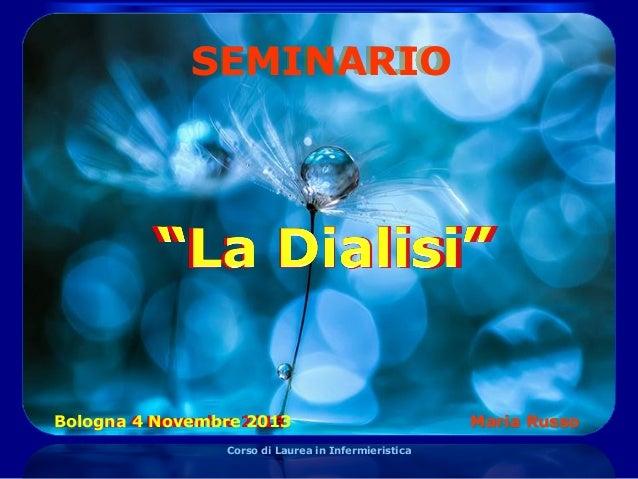 SEMINARIO  Bologna 4 Novembre 2013 Corso di Laurea in Infermieristica  Maria Russo