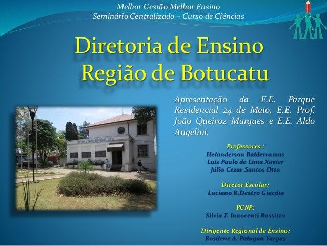 Diretoria de Ensino Região de Botucatu Apresentação da E.E. Parque Residencial 24 de Maio, E.E. Prof. João Queiroz Marques...