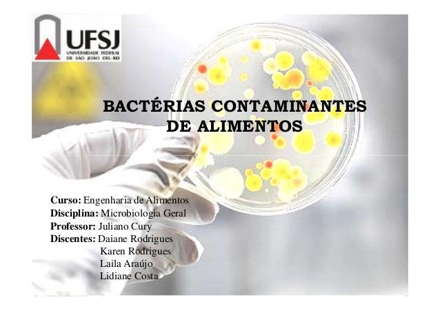 BACTÉRIAS CONTAMINANTES DE ALIMENTOS Curso: Engenharia de Alimentos Disciplina: Microbiologia Geral Professor: Juliano Cur...