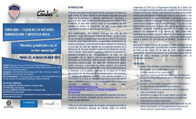 """SEMINARIO – TALLER DE CAPACITACIÓN: MODERNIZACION Y BIENESTAR SOCIAL """"Desafíos pendientes en el sector municipal"""" Martes 2..."""